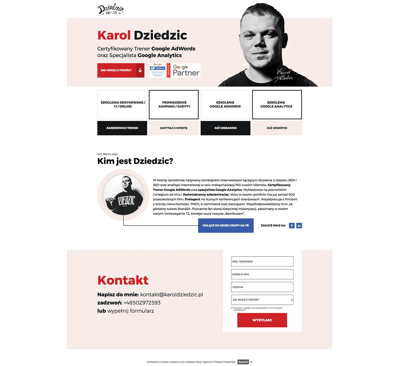 Karol Dziedzic Landing Page