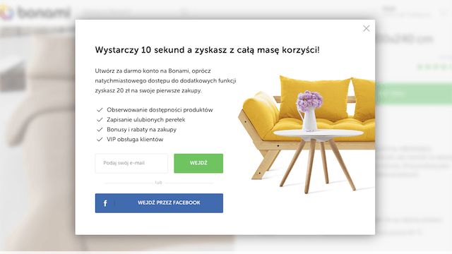 Zapisy do newslettera pop-up