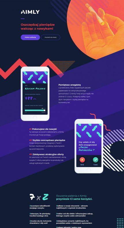 Aimly mobile app Landing Page