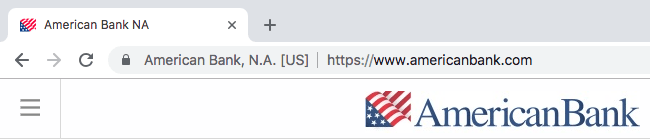 SSL certificate on bank website