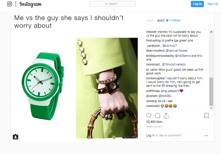 Gucci meme advertisement