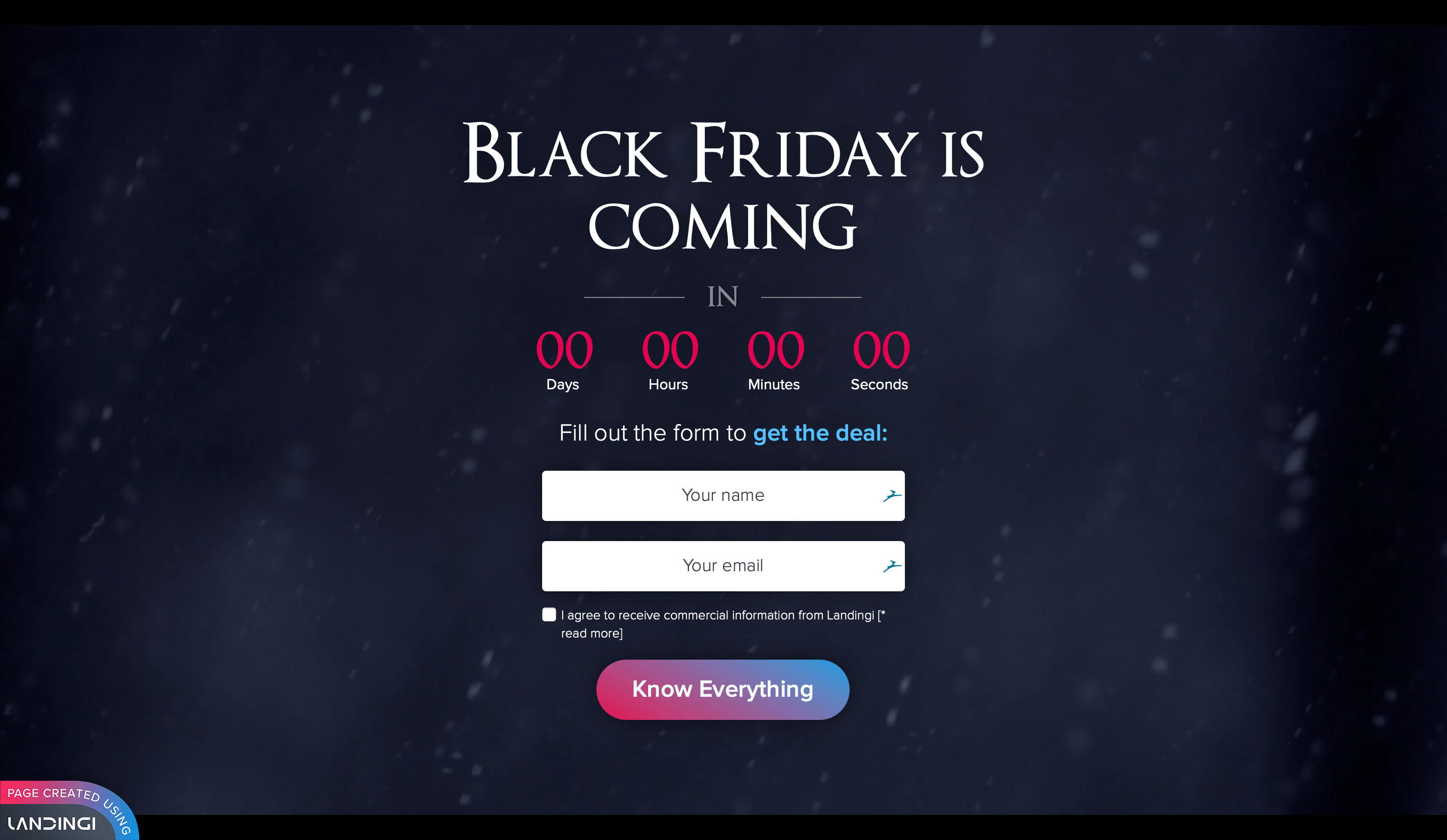 Pre Black Friday landing page