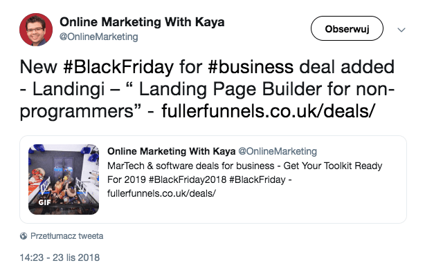 Landingi offer shared on twitter