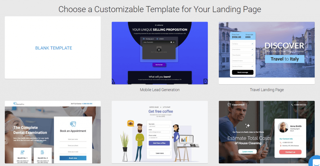 Customizable Templates for Your Landing OPage