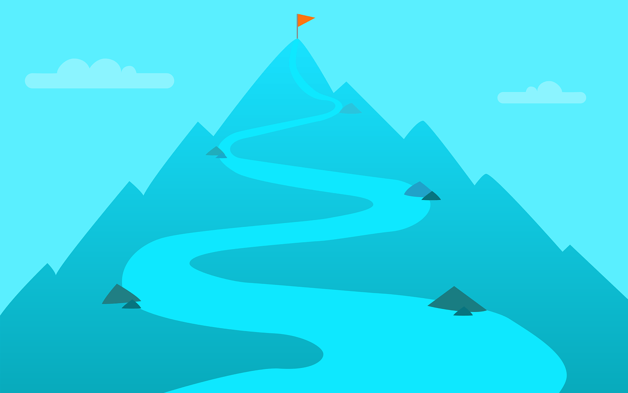 a mountain with few stops and a goal at the top