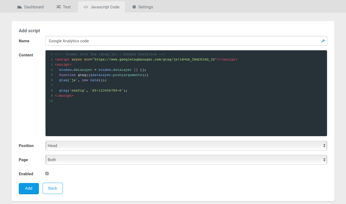 javascript code landingi