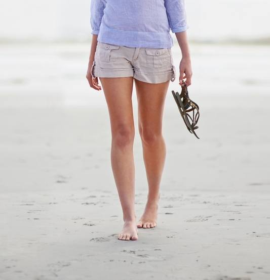 woman walking on beach with perfect legs