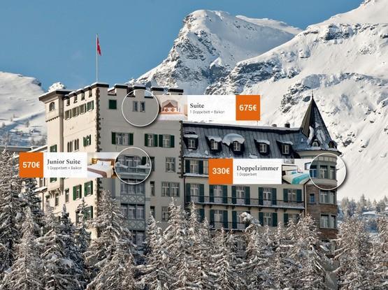Schlosshotel in verschneiten Bergen