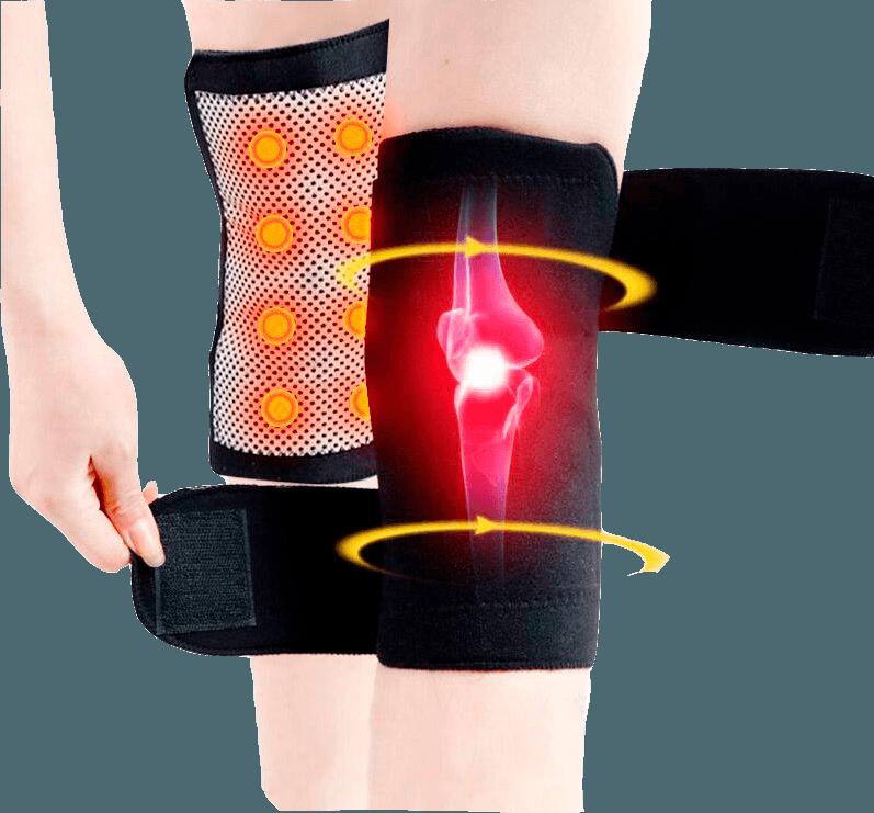 pessoa utilizando as joelheiras de turmalina para diminuir dores nos joelhos e no corpo