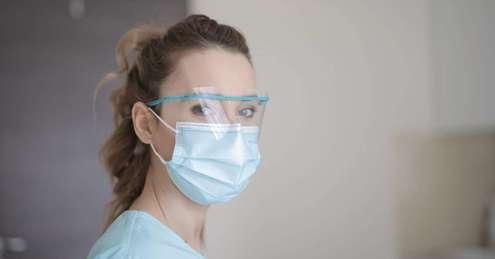 Medic wearing a mask