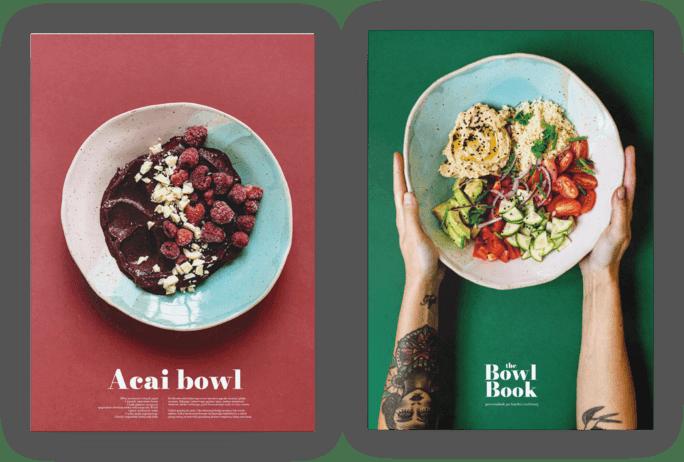 Plakat do kuchni z The Bowl Book. Owocowy acai bowl i warzywny hummus bowl. Fotografie Nat Kontraktewicz.