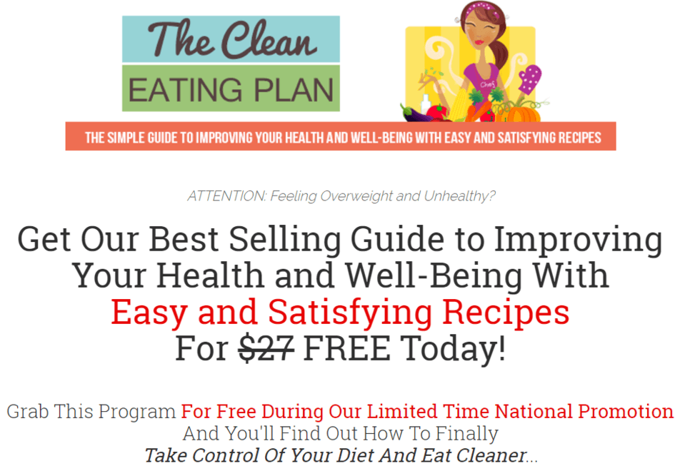 Limited Time Promotion - Get The Clean Eating Plan Free