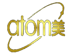 logotipo de atomy dorado
