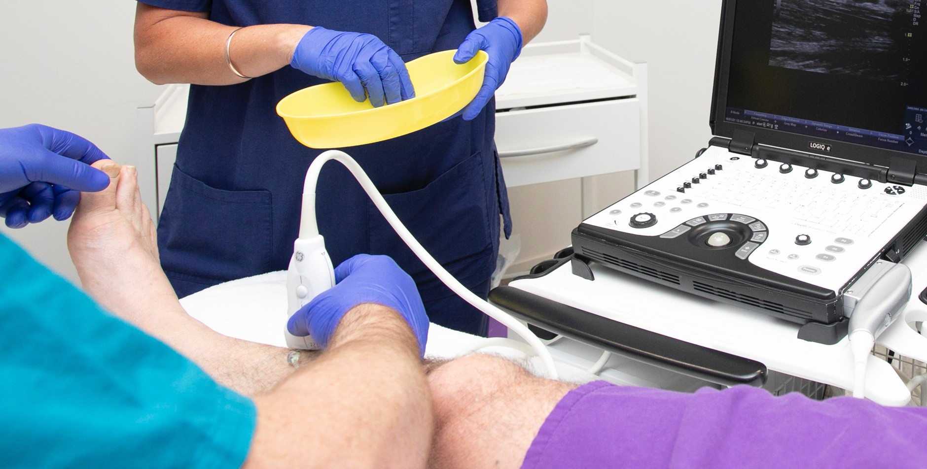 Your vascular specialist monitors your vein treatment using ultrasound.