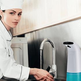 cleanup sabao porta sabao dispensa de sabao polideia poli espuma sensor Balcões de comércios Bares Restaurantes Hotéis Lojas Cozinhas industriais