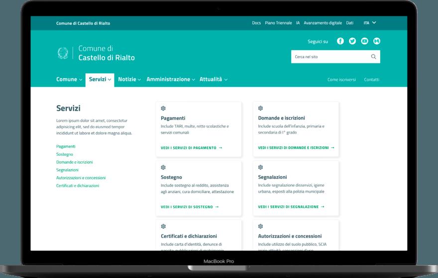 Un sito web per un Comune che segue le linee guida del Team Digitale
